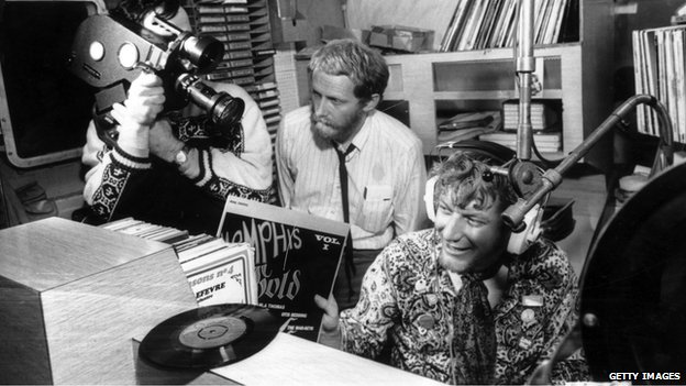 DJ Robbie Dale is filmed aboard Radio Caroline in 1967