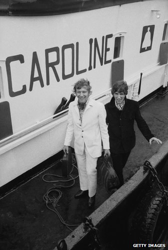 DJs Jonny Walker and Robbie Dale arriving at Felixstowe in 1967