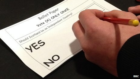 Students at Ross High School in East Lothian take part in a mock referendum on Scottish independence