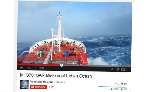 A still from one of the videos on YouTube claiming to be related to the MH370 search