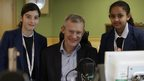 School reporters with radio host, Jeremy Vine.