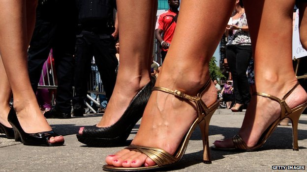 A photo of women wearing high heels in New York City.