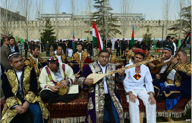 Tajik traditional musicians perform during the official Nawroz festivities at the Presidential Palace