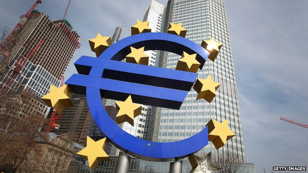 The Euro logo in front of the European Central bank