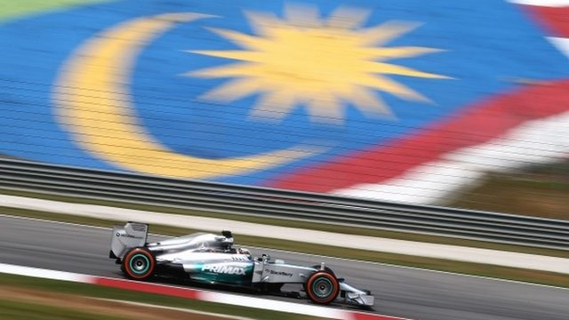 Mercedes' Lewis Hamilton sets the pace during first practice in Malaysia