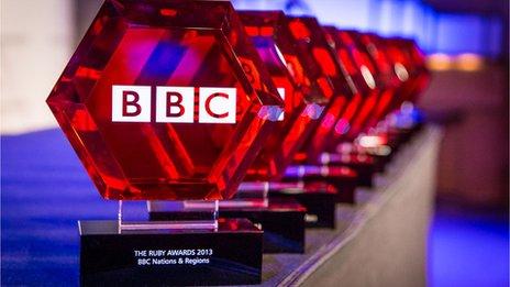 Ruby Award trophies