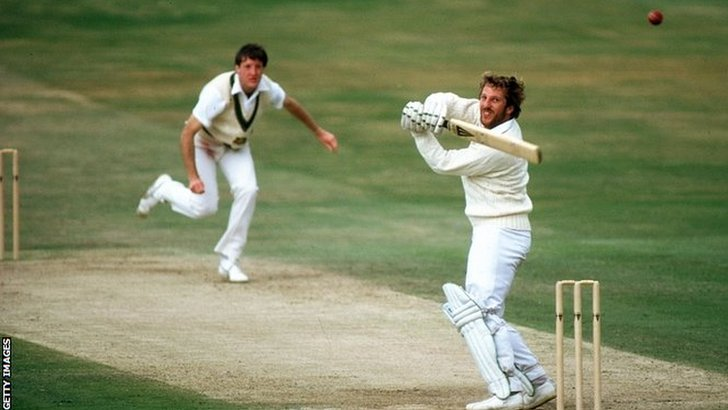 Ian Botham hits a boundary
