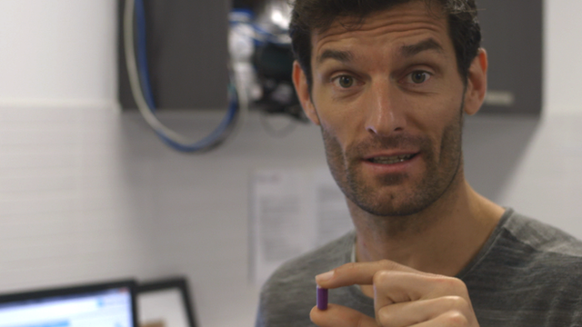 Malaysian Grand Prix: Mark Webber shows off core temperature pill