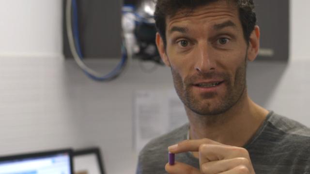 Malaysian Grand Prix: Mark Webber shows off core temperature pill