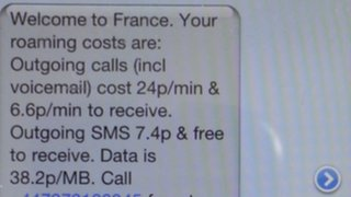 "text message ""welcome to France"""