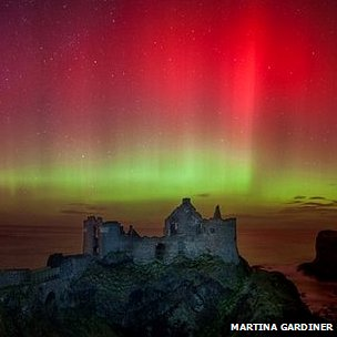 Northern Lights at Dunluce Castle, Northern Ireland