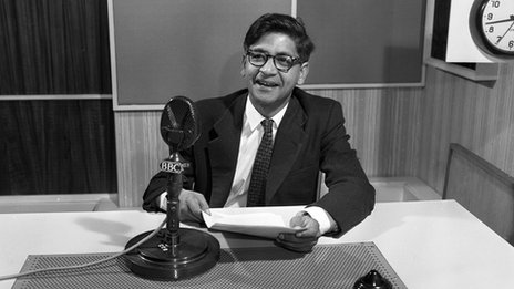V S Naipaul in BBC studio, 1961