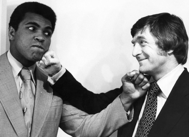 Muhammad Ali (left) with BBC talk show host Michael Parkinson in December 1974