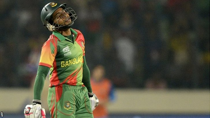 Bangladesh captain Mushfiqur Rahim reacts