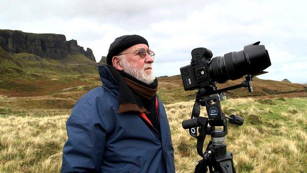 Albert Watson with a camera  on Skye