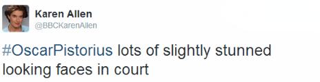 Tweet by the BBC's Karen Allen
