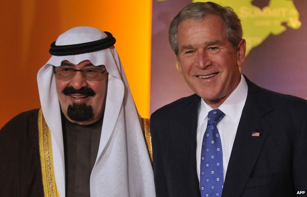 George W Bush poses with Saudi King Abdullah during the Summit on Financial Markets on November 15, 2008 in Washington DC