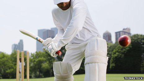 batsman about to hit ball