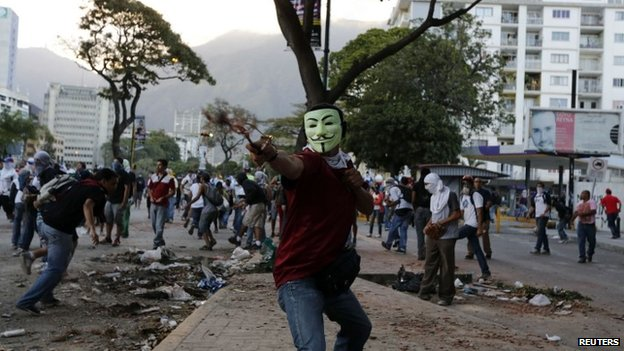 Opposition activists in Caracas, 4 March 14