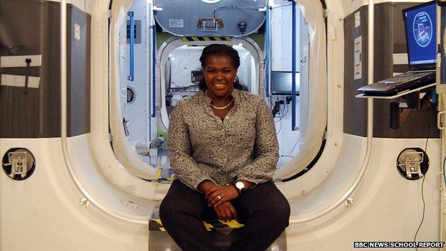 Maggie Aderin-Pocock in space shuttle