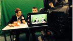 Filming the news report at The King John School in Essex.