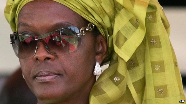 Grace Mugabe attends celebrations marking Zimbabwe's 28th anniversary of independence at a stadium in Harare (April 2008)