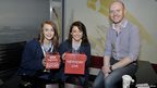 Two female School Reporters and  BBC weather presenter Barra Best