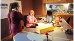 School Reporters in radio studio with presenter Wendy Austin