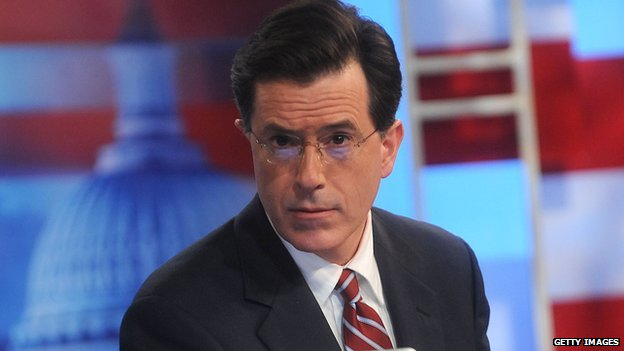 Stephen Colbert on the set of his show, the Colbert Report.