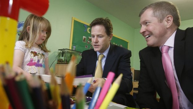 Deputy Prime Minister Nick Clegg and Scottish Liberal Democrat leader Willie Rennie during a visit to Banbury Cross Nursery in Aberdeen
