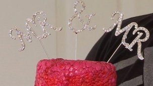 The top of the wedding cake
