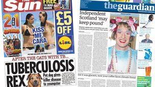Composite image of the front pages of the Sun and the Guardian on 29/03/14