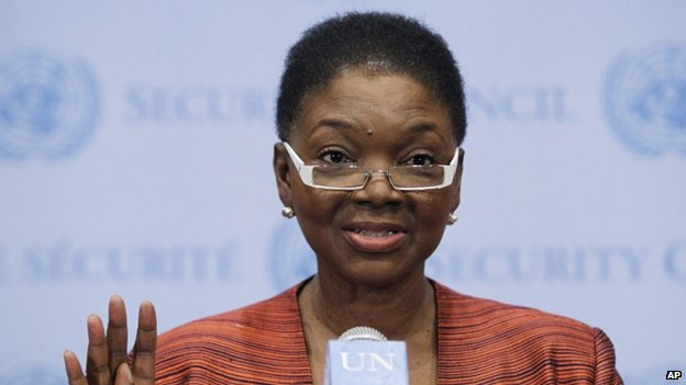 UN humanitarian chief Valerie Amos briefs journalists following closed-door Security Council consultations on the situation in Syria (28 March 2014)