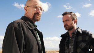 Bryan Cranston as Walter White, and Aaron Paul as Jesse Pinkman in a scene from Breaking Bad (Publicity shot released by AMC)