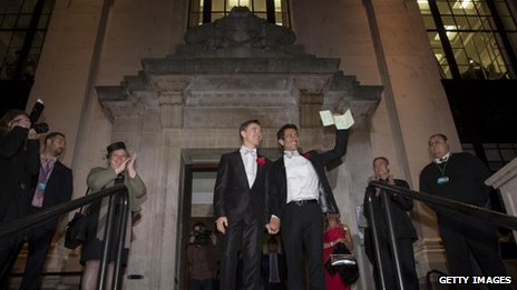 Peter McGraith and David Cabreza on the steps of Islington Town Hall after being married shortly after midnight on 29 March 2014