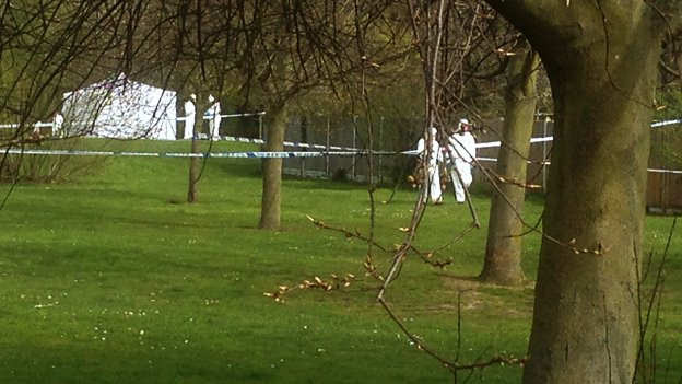 Police forensic team at Lower Castle Park