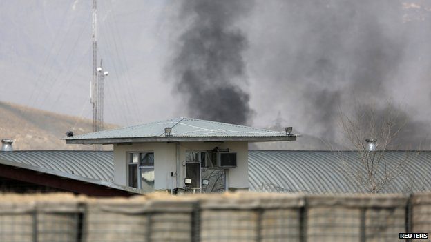 Smoke rises from the site of an attack in Kabul on 29 March 2014. T