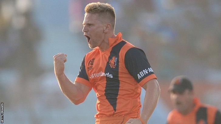 The Netherlands celebrate a wicket