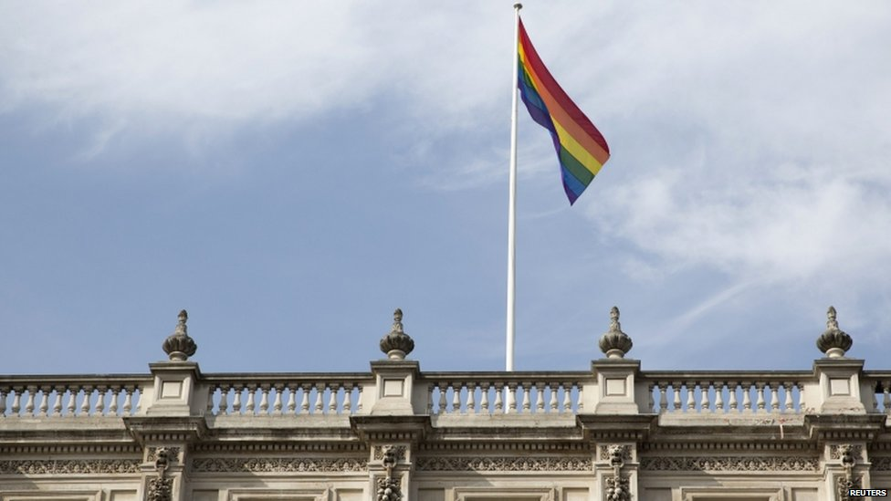 Rainbow flag flying above the Cabinet Offices