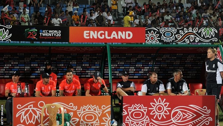 England captain Stuart Broad sits in the dugout as floodlight failure stops play