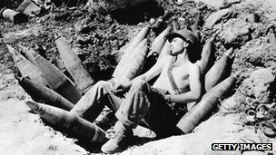 US soldier sleeps on his ammunition  during the Korean war