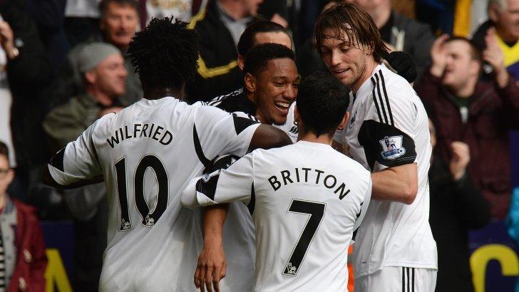 Swansea celebrate scoring