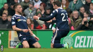 Melvin de Leeuw and Graham Carey celebrate Ross County's opener at Celtic Park