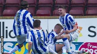 Kilmarnock celebrate Craig Slater's last-gasp winning goal
