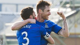 Graeme Shinnie and Greg Tansey celebrate the latter's goal for Inverness