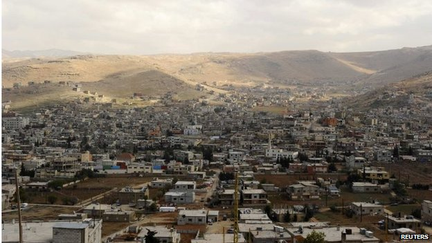 A general view of the Sunni Muslim border town of Arsal, in eastern Bekaa Valley