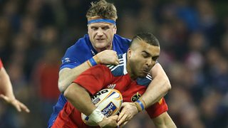 Jamie Heaslip tackles Ireland colleague Simon Zebo