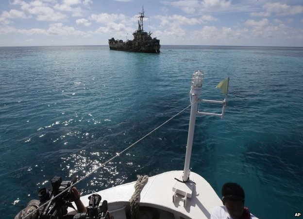 A dilapidated Philippine Navy ship with Philippine troops anchored off Second Thomas Shoal, March 29