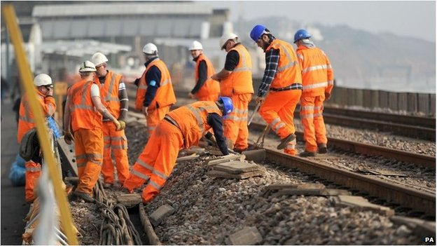 Rail workers on a line