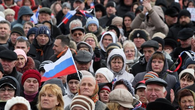 Pro-Russian activists at a rally in Donetsk (29 March)
